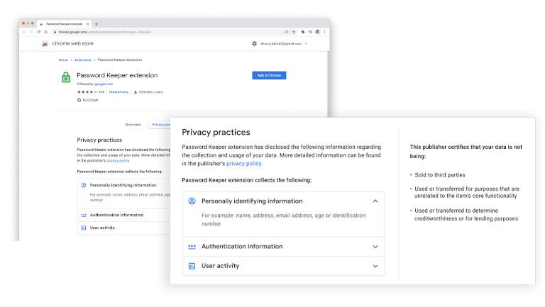 Google Chrome autorisations extensions
