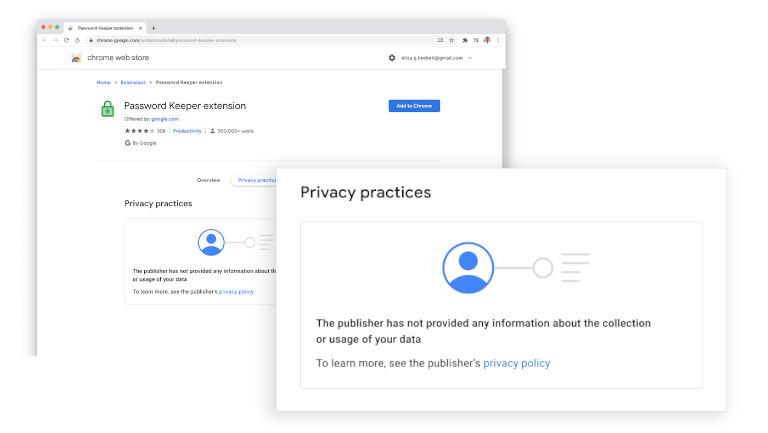 Google Chrome Web Store extensions confidentialité