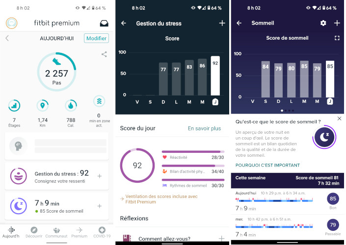 Fitbit Sense application montre intelligente