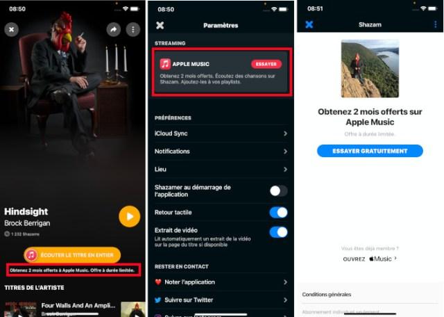 Shazam offre mois gratuits Apple Music