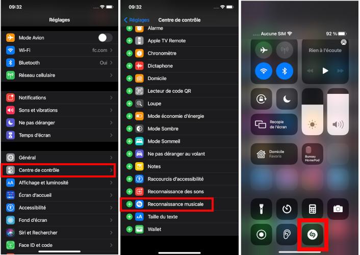 Comment ajouter Shazam centre de contrôle iPhone