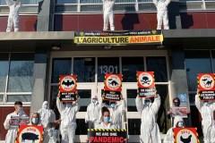 Des militants ont bloqué les portes de la Santé publique à Montréal