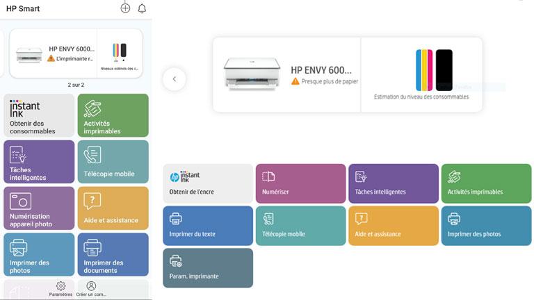 imprimer et configurer via application HP ENVY 6055