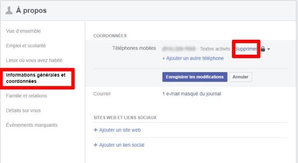 Facebook comment supprimer numéro de téléphone