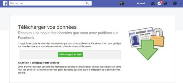 Facebook télécharger vos données