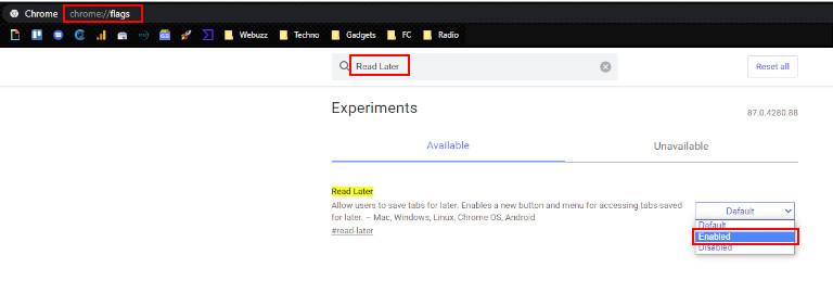 Activer fonction lire plus tard navigateur Google Chrome
