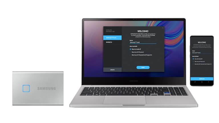 Disque dur externe Portable SSD T7 Touch Samsung Ordinateur Téléphone