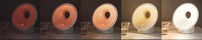 Différentes intensités de lumière sur la lampe SmartSleep par Philips