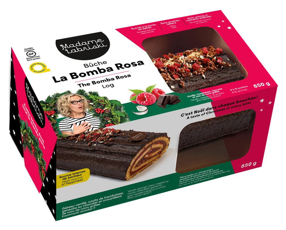 Emballage d'une bûche de Noël au chocolat
