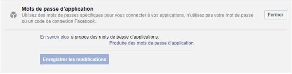 Facebook mots de passe applications