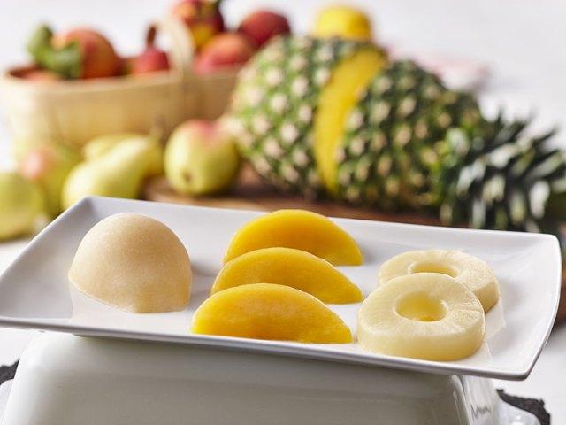Un plateau de fruits détexturés