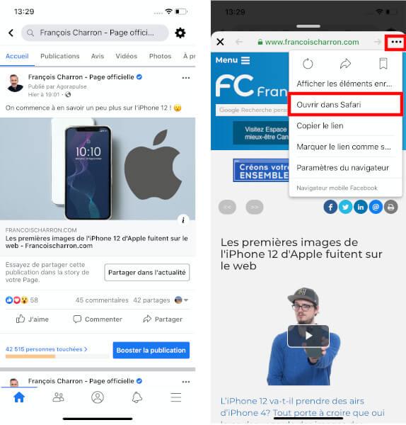 Navigateur Facebook ouvrir Safari iOS