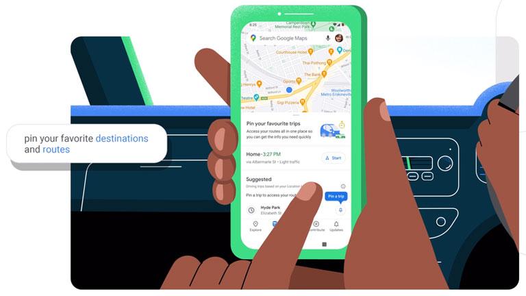 nouvelle fonction trajet Google Maps Android 11