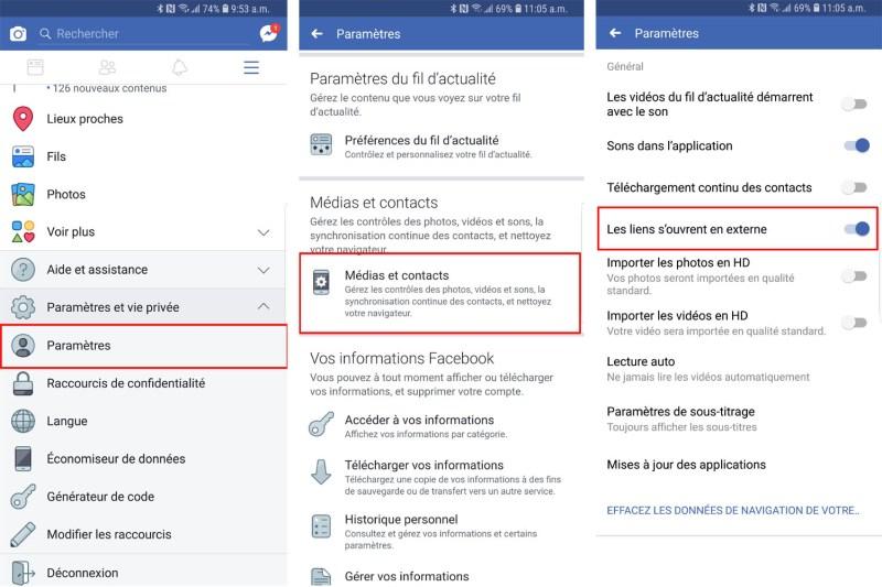 Retirer navigateur Facebook Android