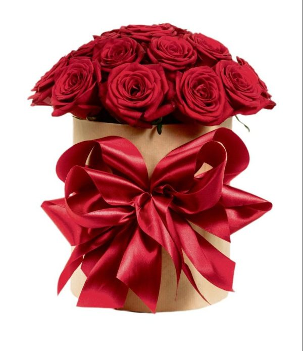 gift box with colorful roses on Valentine's day holiday