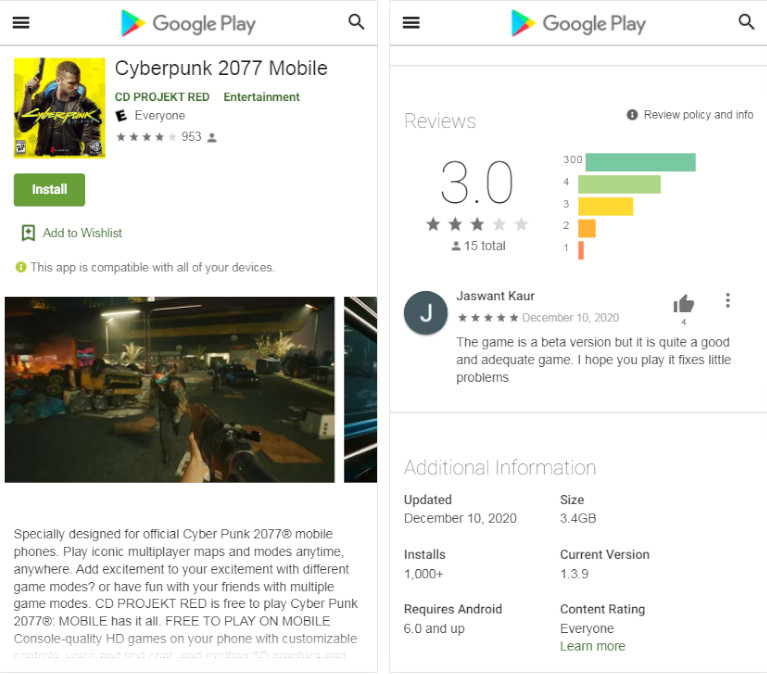 Fausse page Cyberpunk 2077 Play Store