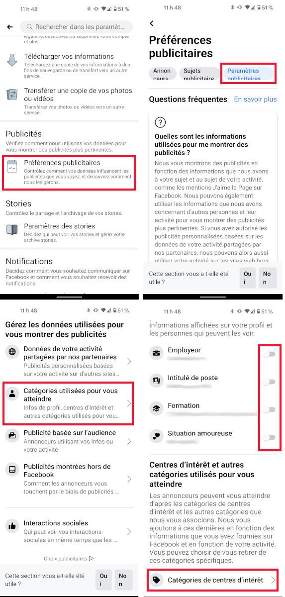 Paramètres ciblage publicitaire Facebook téléphone intelligent