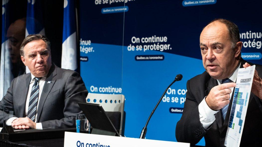 Le premier ministre du Québec, François Legault, accompagné du ministre de la Santé, Christian Dubé