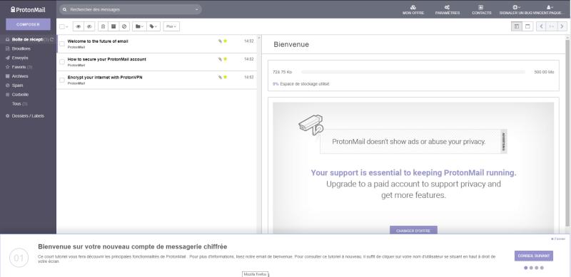 ProtonMail service courriels emails crypté sécurité interface