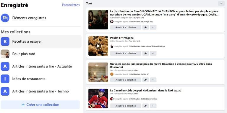 aperçu gestion signets Facebook web