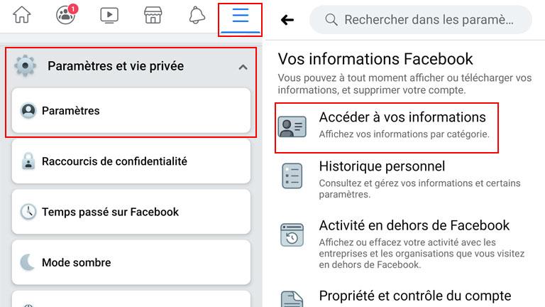 comment accéder Vos informations Facebook application mobile