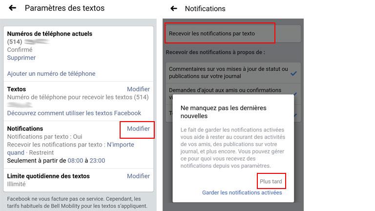 comment désactiver notifications facebook mobile 2