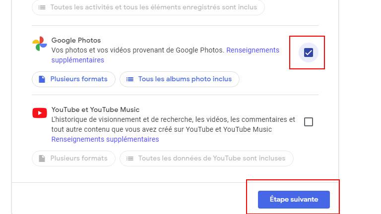 Étape 2 télécharger bibliothèque photos Google