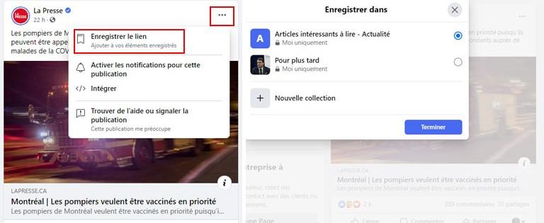 étapes comment sauvegarder publications Facebook