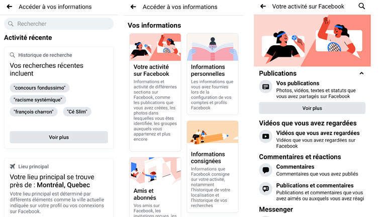 nouvelle interface vos informations Facebook