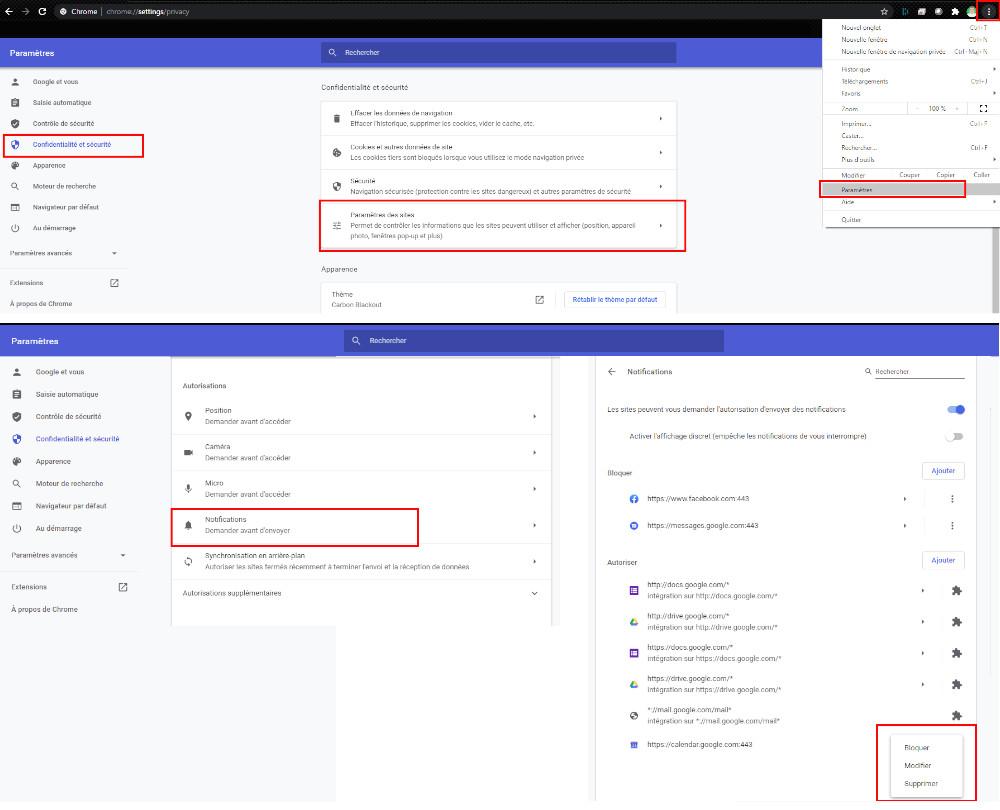 Comment désactiver les notifications web sur Chrome.