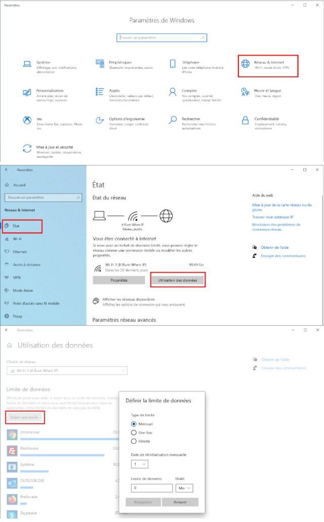 Comment activer la limite de données internet sur Windows 10.