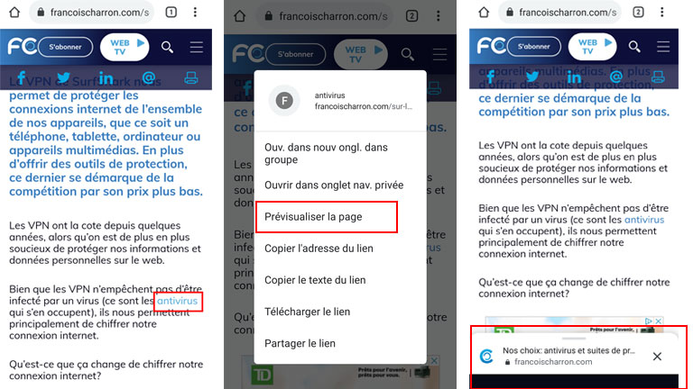 Aperçu comment activer prévisualisation pages Google Chrome Android