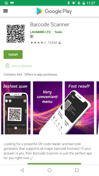 Barcode application code-barre virus