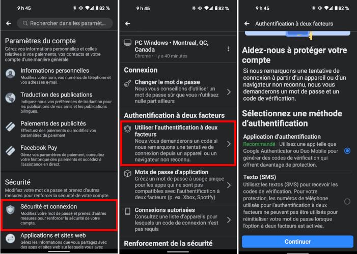 Étapes pour activer l'authentification à double facteur de Facebook sur mobile