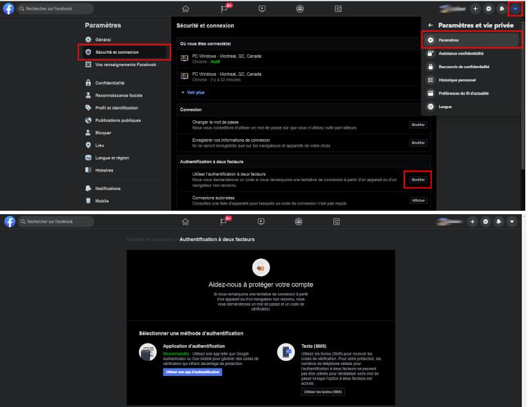 Étapes pour activer l'authentification à double facteur de Facebook sur ordinateur