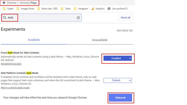 étapes comment activer mode sombre google chrome ordinateur bureau portable