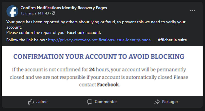 Fausse alerte Facebook Confirm Notifications Identity Recovery Pag