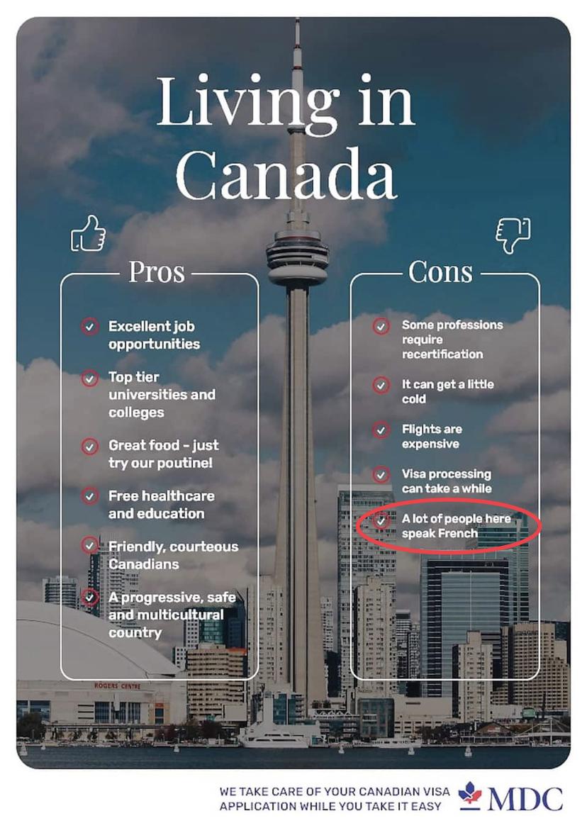 Le français, un «négatif» pour le Canada? Une firme s'excuse