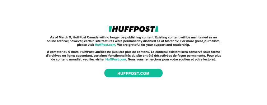 Médias: fermeture du Huffpost Québec et Huffpost Canada