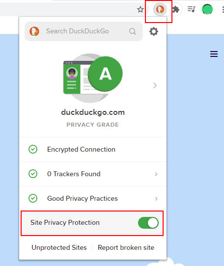 comment désactiver site privacy protection duckduckgo