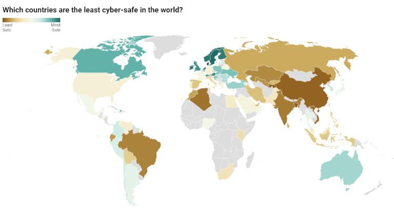 Carte des pays les plus et moins protégés en terme de cybersécurité