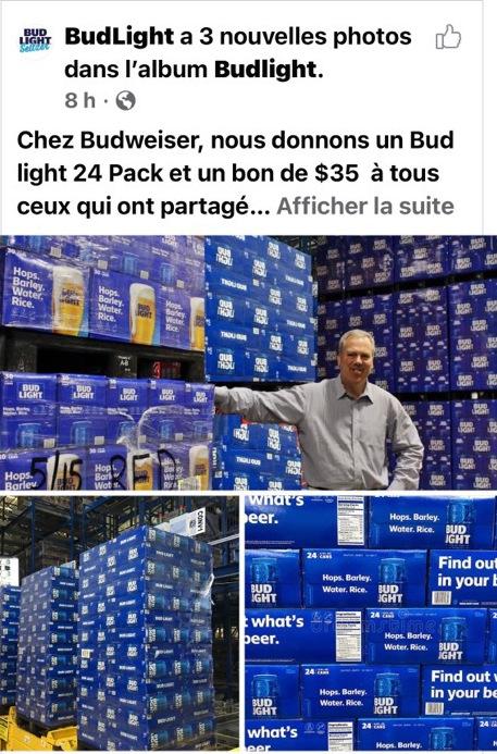 Publication Facebook faux concours BudLight