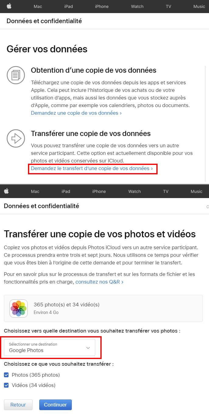 Comment faire le transfert de nos photos et vidéos d'iCloud à Google Photos.