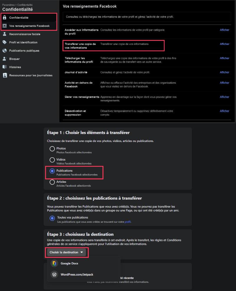 Transferts publications Facebook vers Google Doc ordinateur