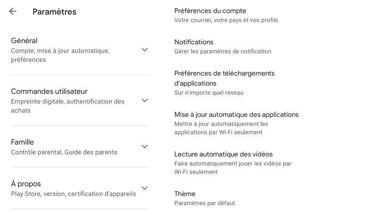 aperçu nouveau menu paramètres simplifié google play store