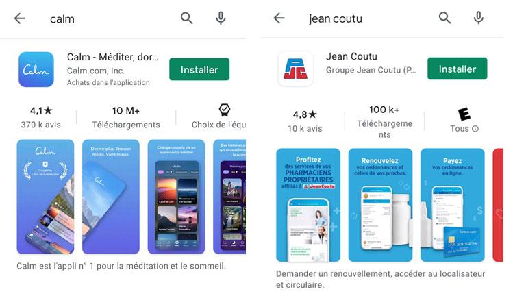 aperçu nouveau menu recherche image google play store