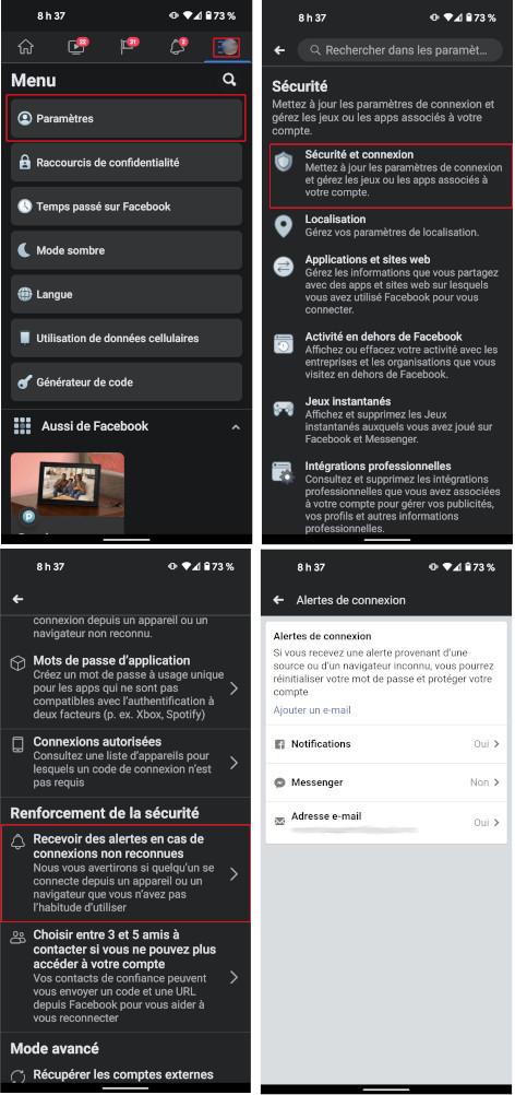 Comment activer alertes sécurité Facebook mobile