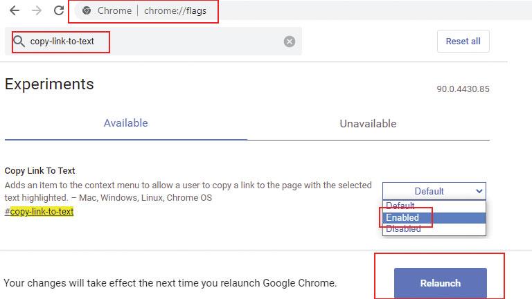 comment activer manuellement partage de liens spécifiques google chrome web