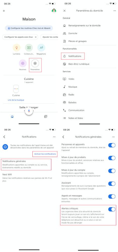 comment activer notification google home iPhone retrouver téléphone