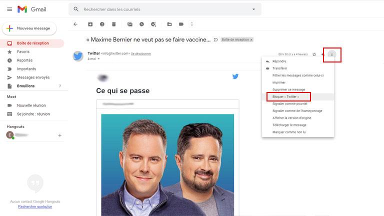 comment bloquer destinataire indésirable gmail spam pourriel
